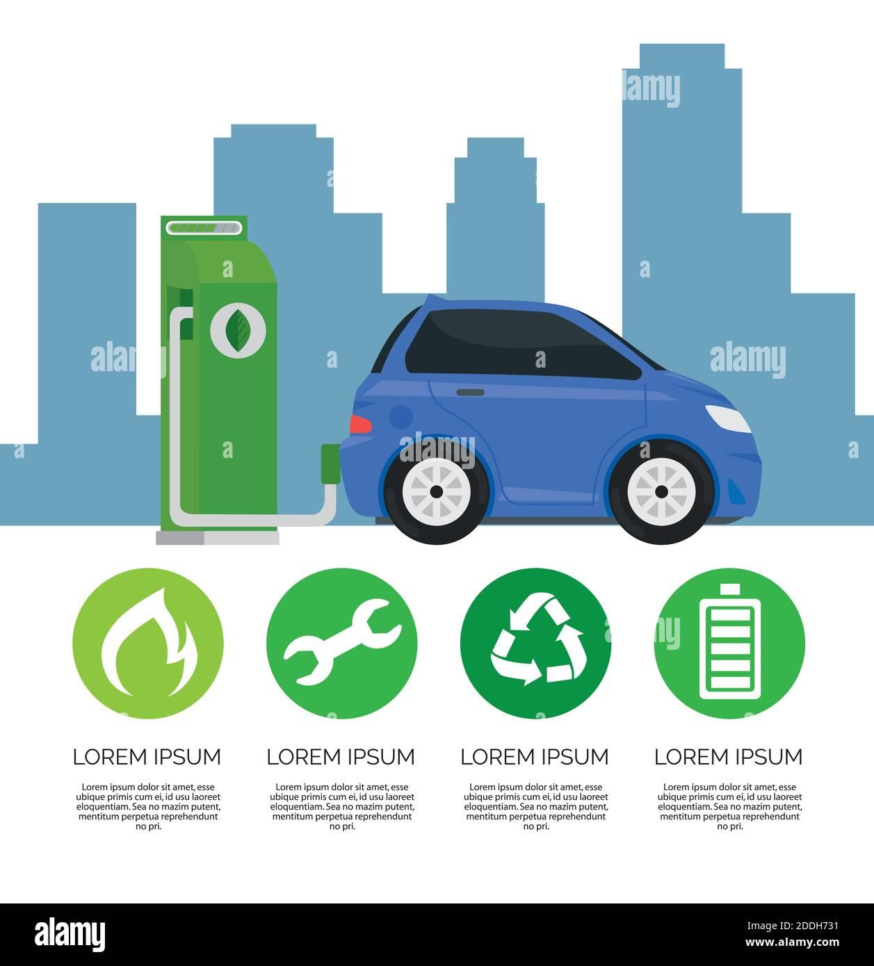 ecología de coches eléctricos alternativa en la estación de chargin y establecer iconos Ilustración del Vector