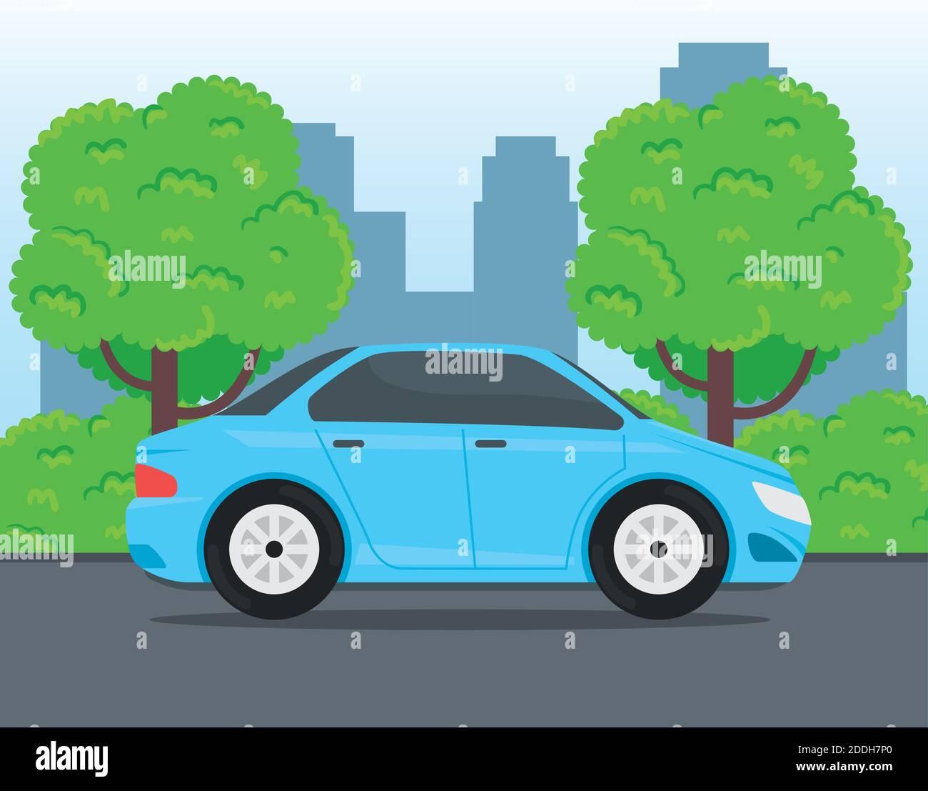 vehículo de coche azul que viaja en la carretera Ilustración del Vector