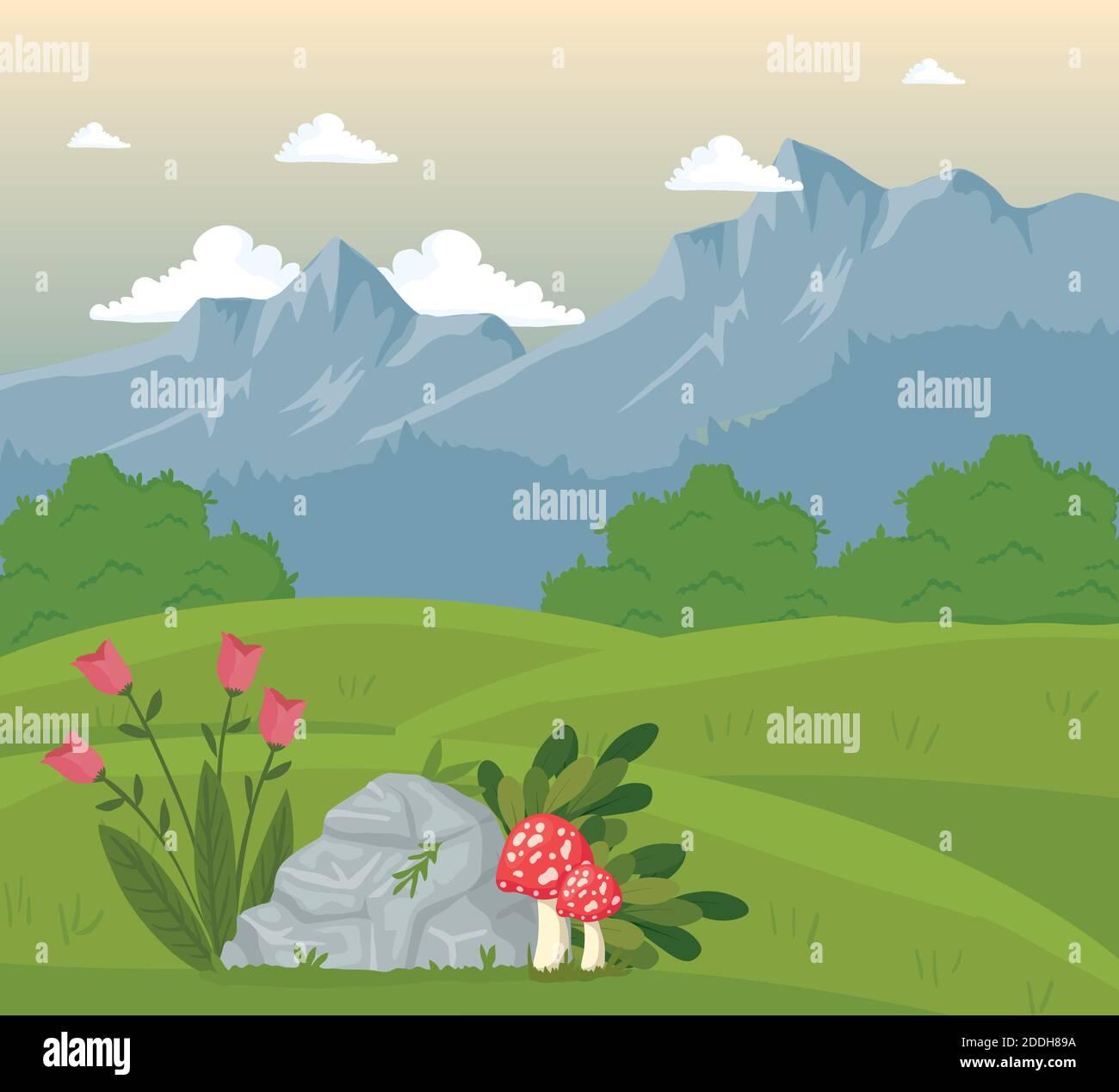 campo campamento paisaje escena con flores y hongos Ilustración del Vector
