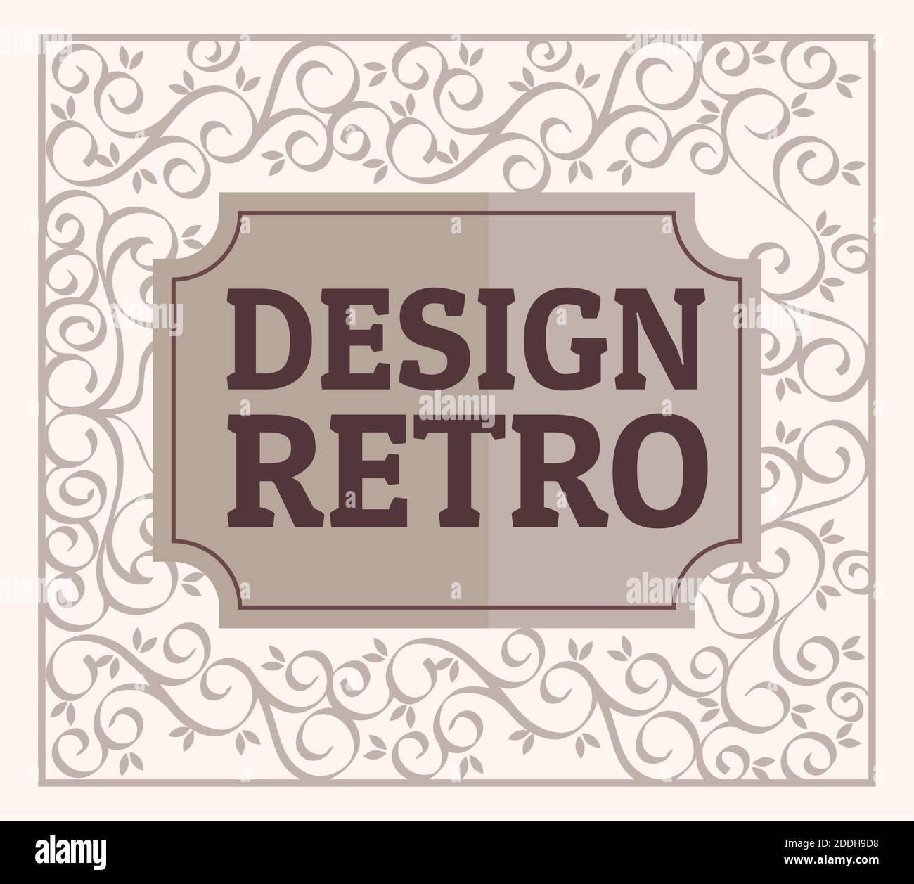 diseño retro con elegante marco de madera Ilustración del Vector