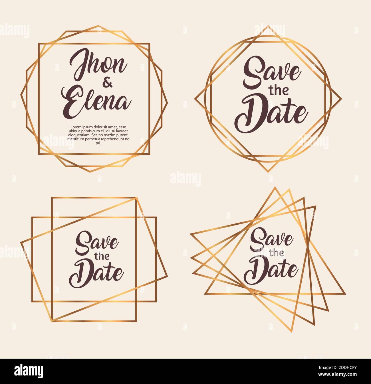 paquete de cuatro marcos de oro de invitación de boda Ilustración del Vector