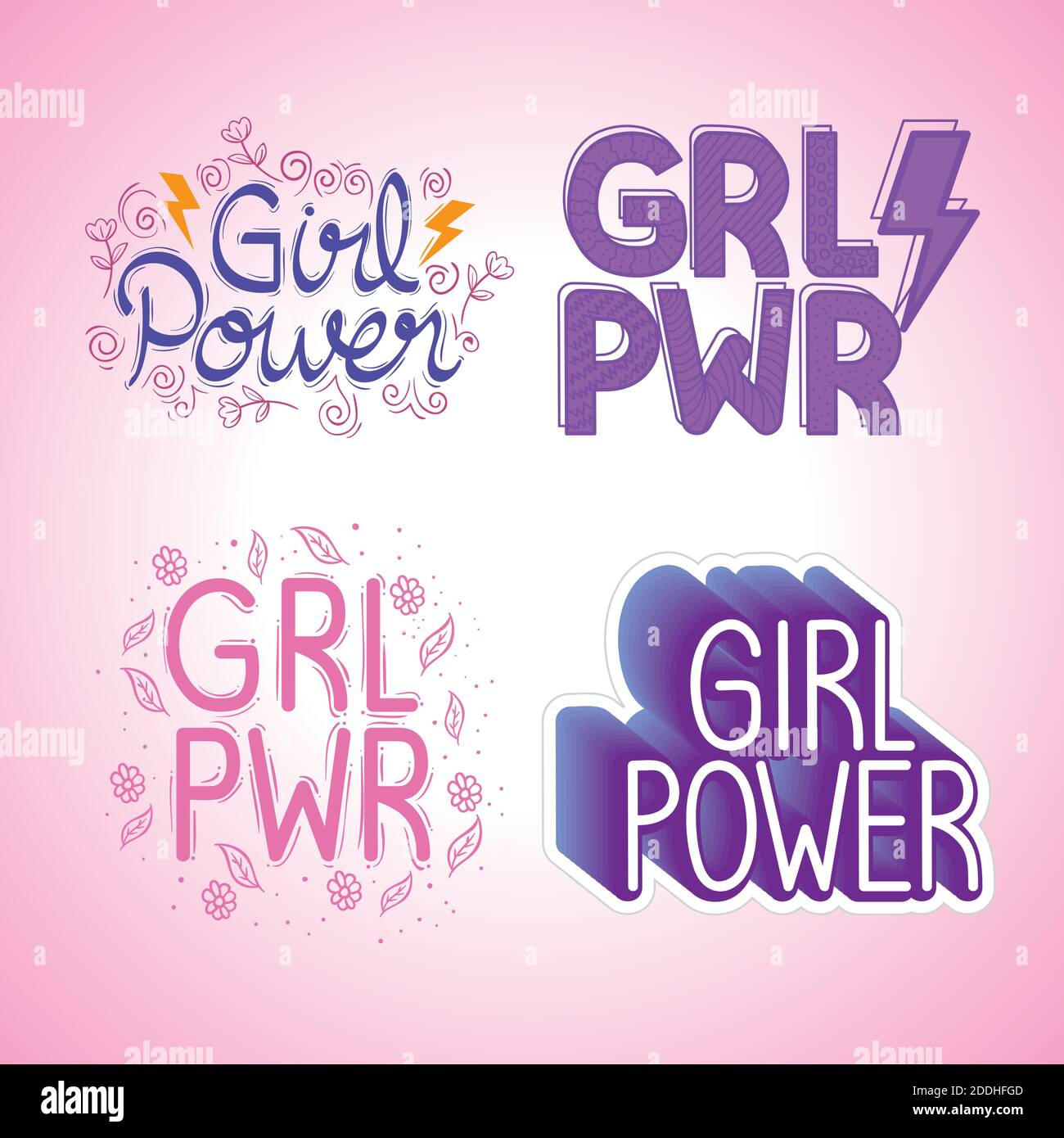 cuatro letras de poder de la muchacha sistema Ilustración del Vector
