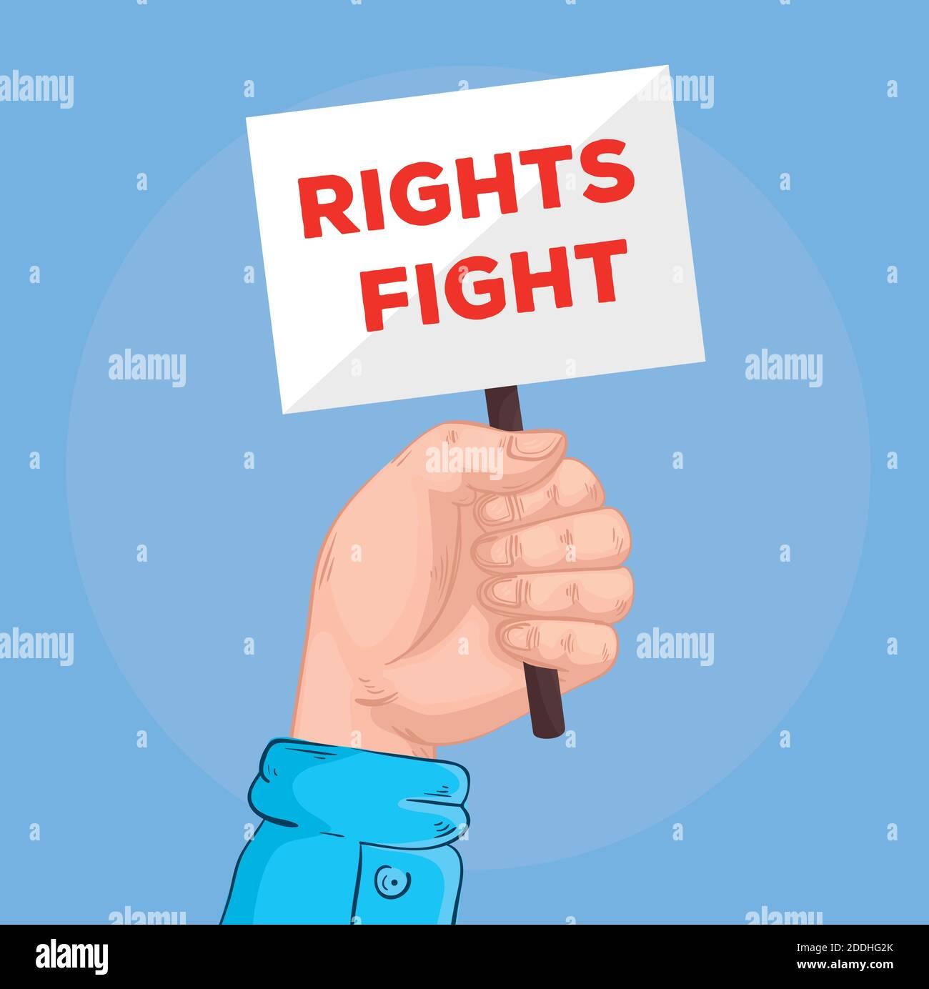 los derechos de levantamiento de manos luchan con letras en la bandera Ilustración del Vector