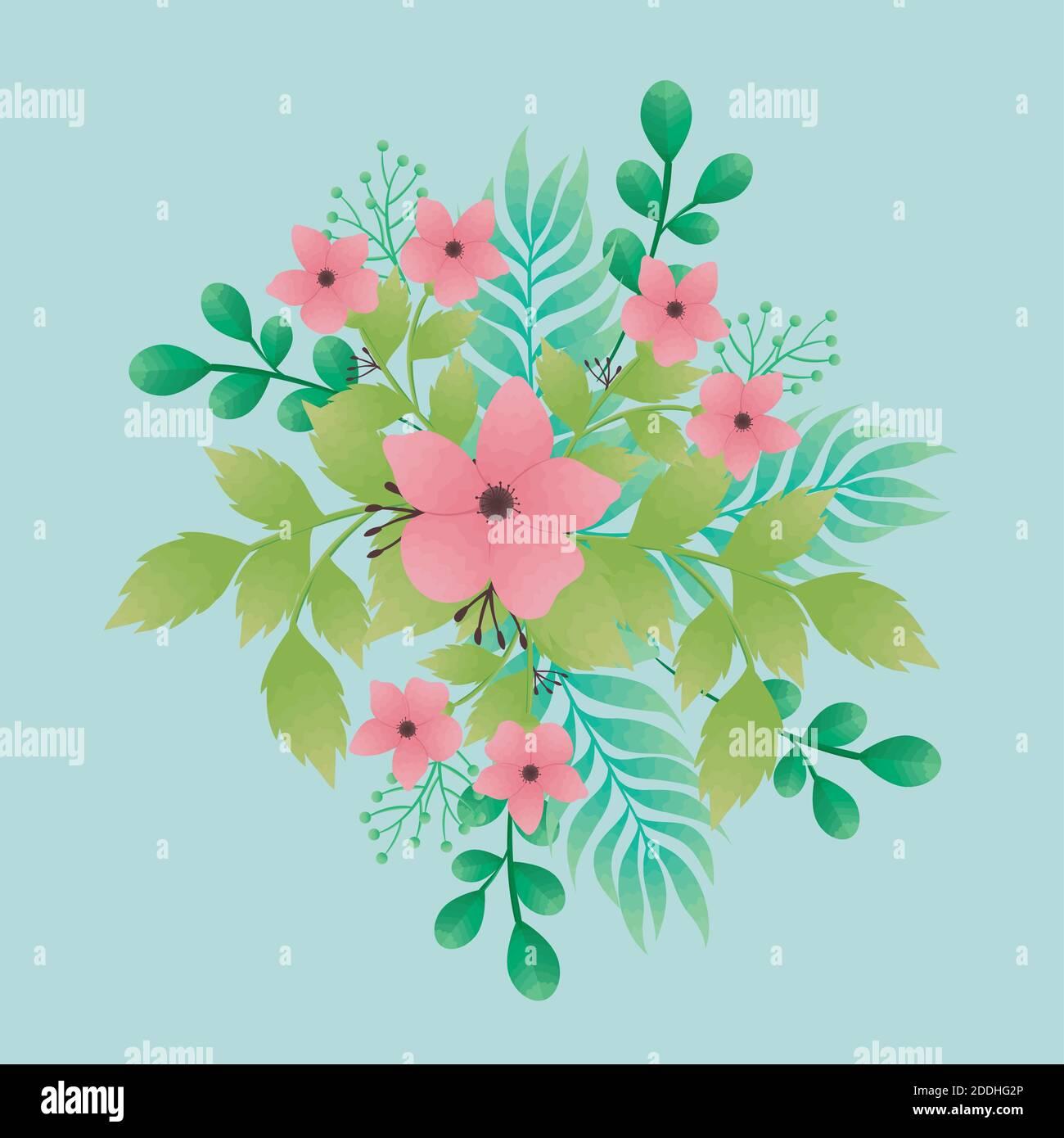flores rosas hermosas y hojas iconos decorativos Ilustración del Vector