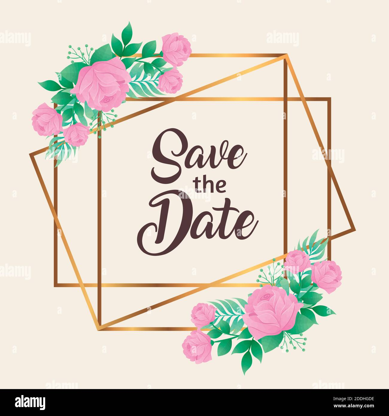 invitación a la boda con guardar la fecha y las flores rosadas en marco cuadrado dorado Ilustración del Vector