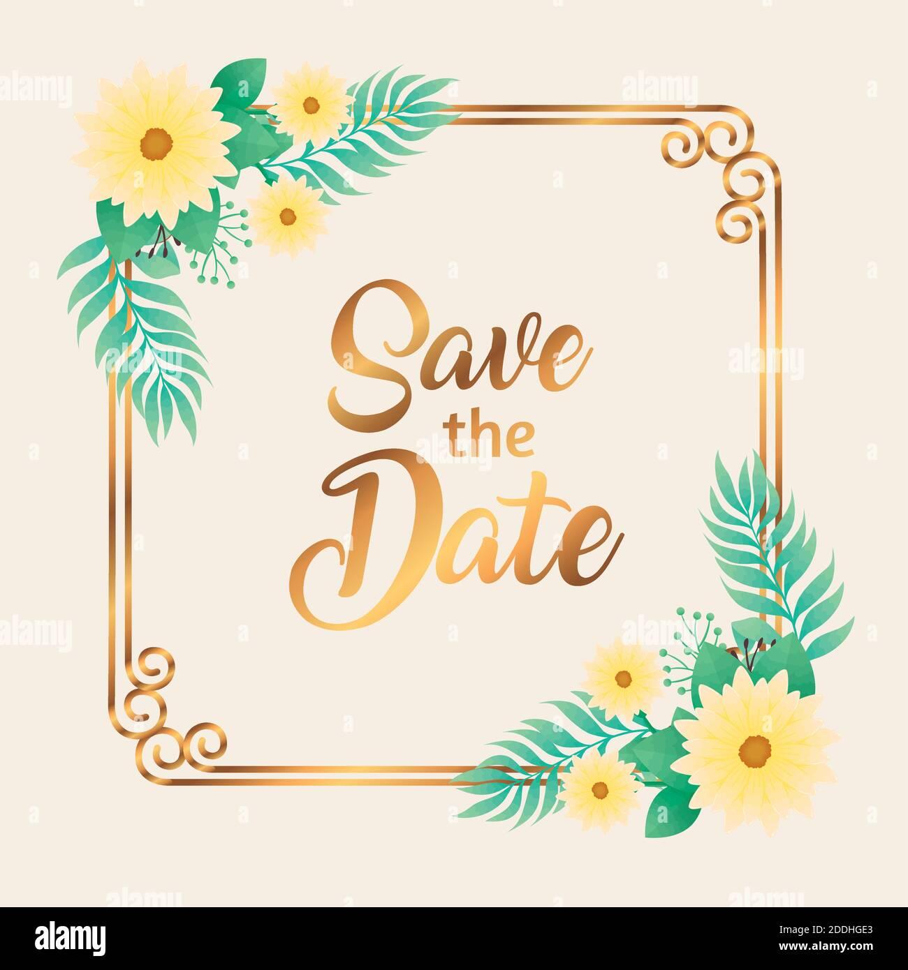 invitación de boda con guardar la fecha y las flores amarillas en marco cuadrado dorado Ilustración del Vector
