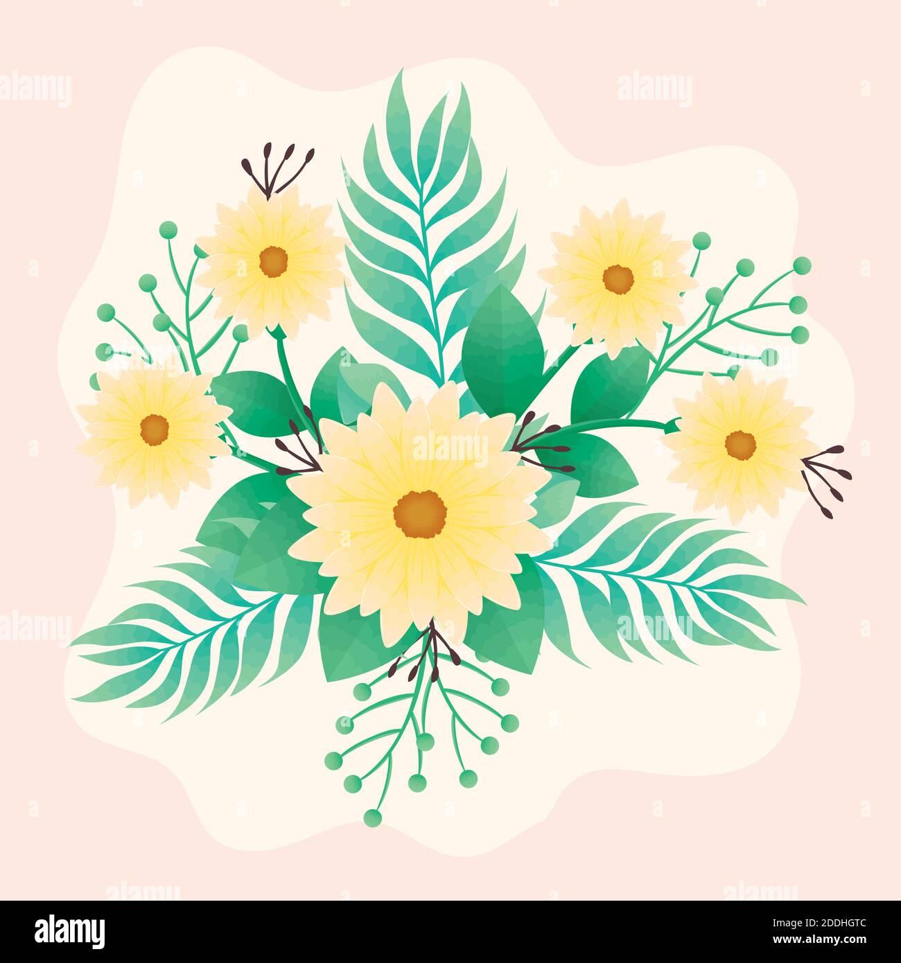 hermoso amarillo flores y hojas verde icono decorativo Ilustración del Vector