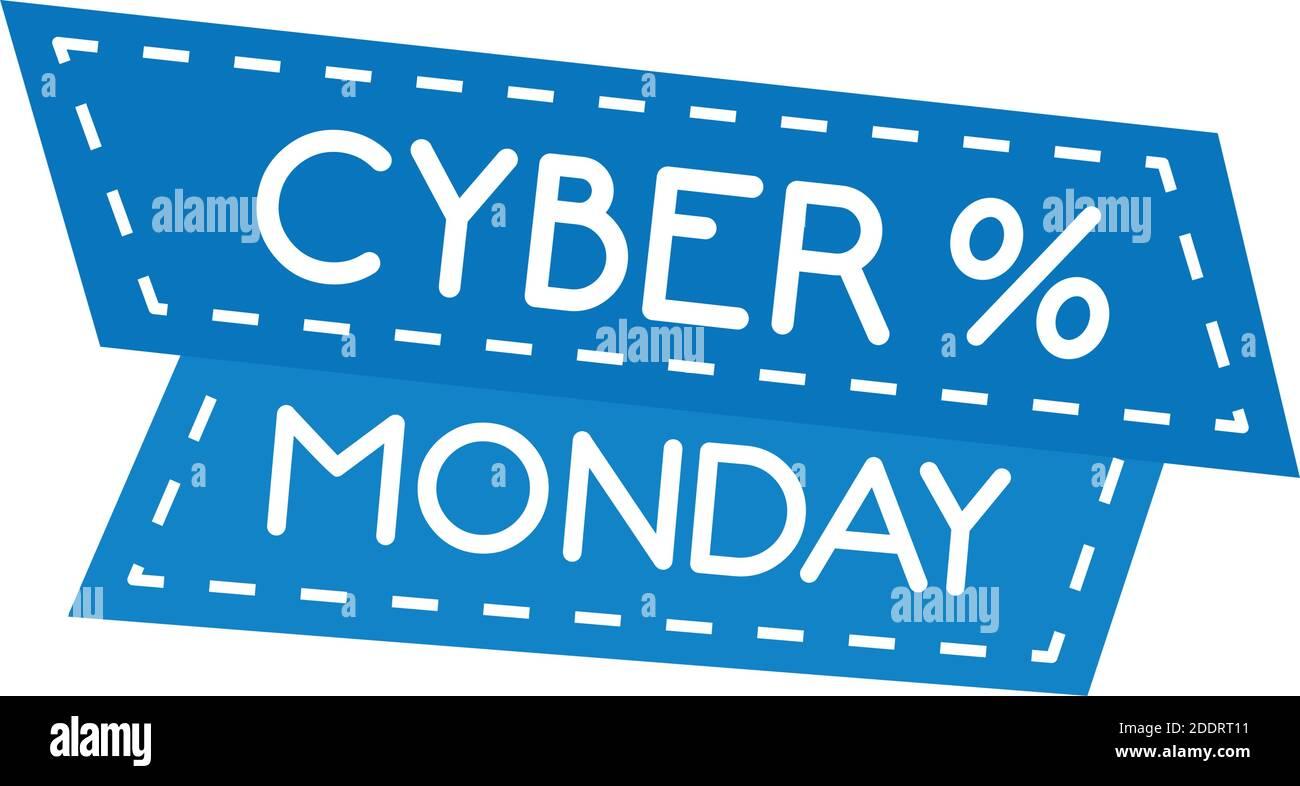 letras cyber monday en marco de cinta con símbolo de porcentaje Ilustración del Vector