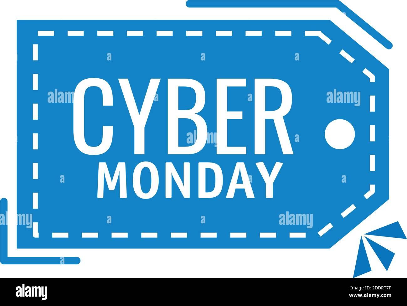 cyber lunes rotulado en etiqueta colgante Ilustración del Vector