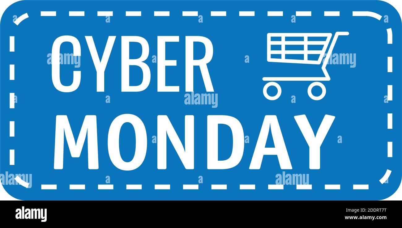 cyber lunes rotulación en etiqueta cuadrada con carrito de compras Ilustración del Vector