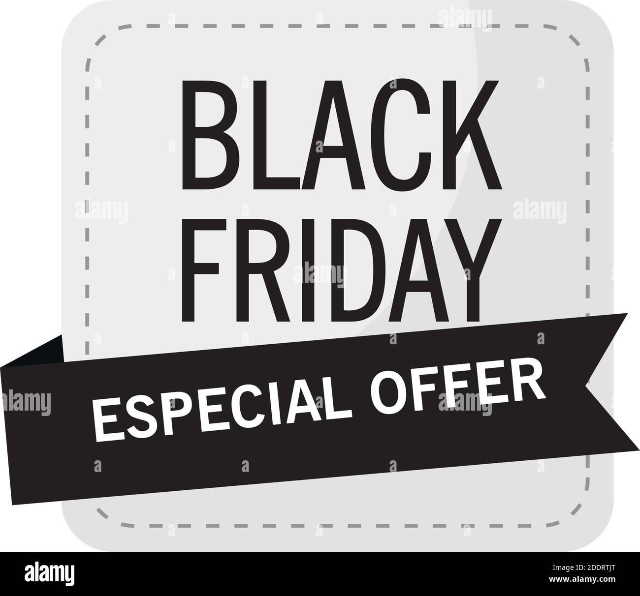 venta de viernes negro letras en etiqueta cuadrada Ilustración del Vector