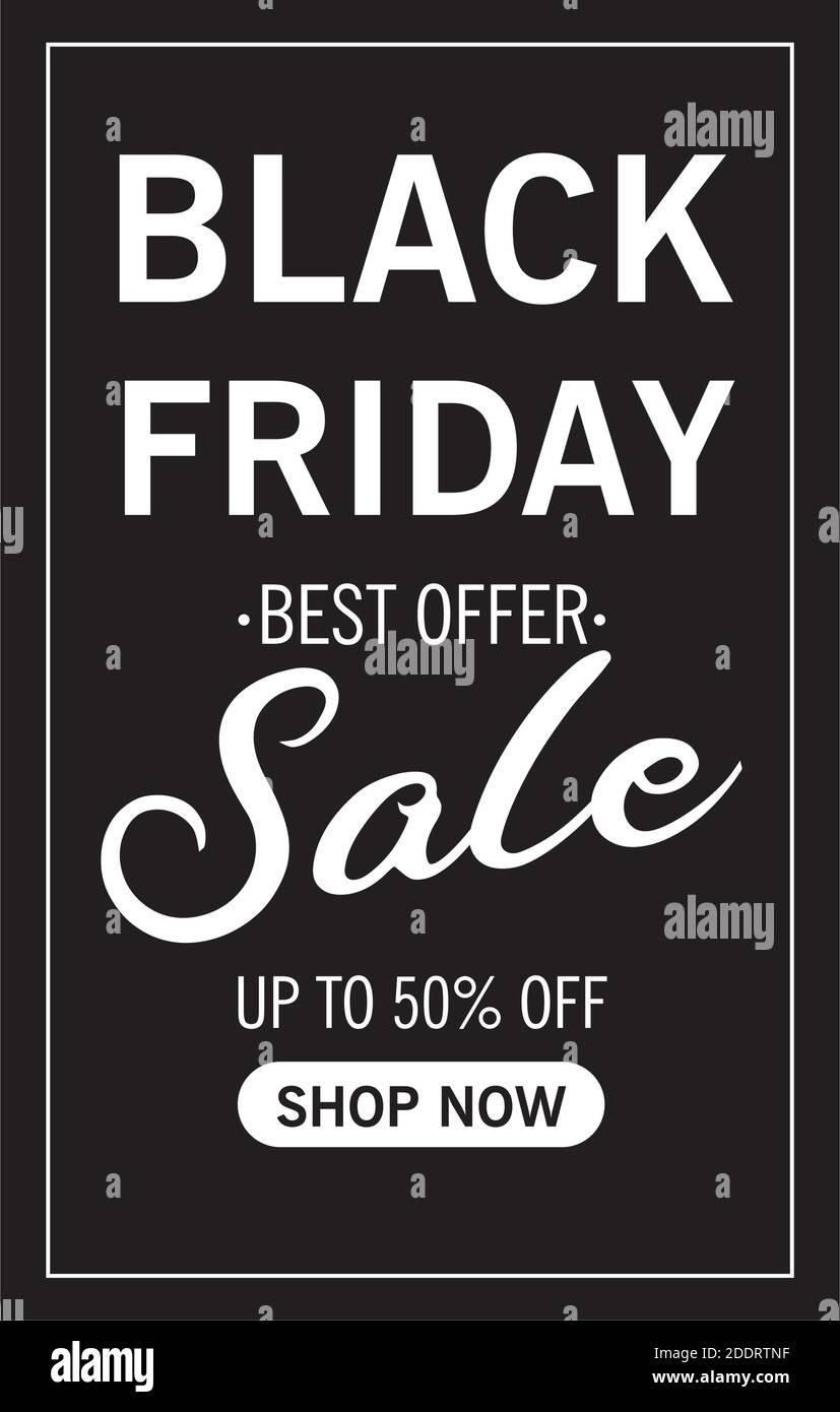 venta de viernes negro letras en marco cuadrado Ilustración del Vector