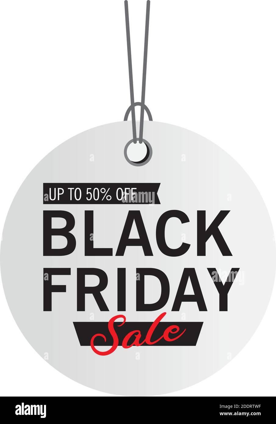 venta de viernes negro letras en etiqueta circular Ilustración del Vector