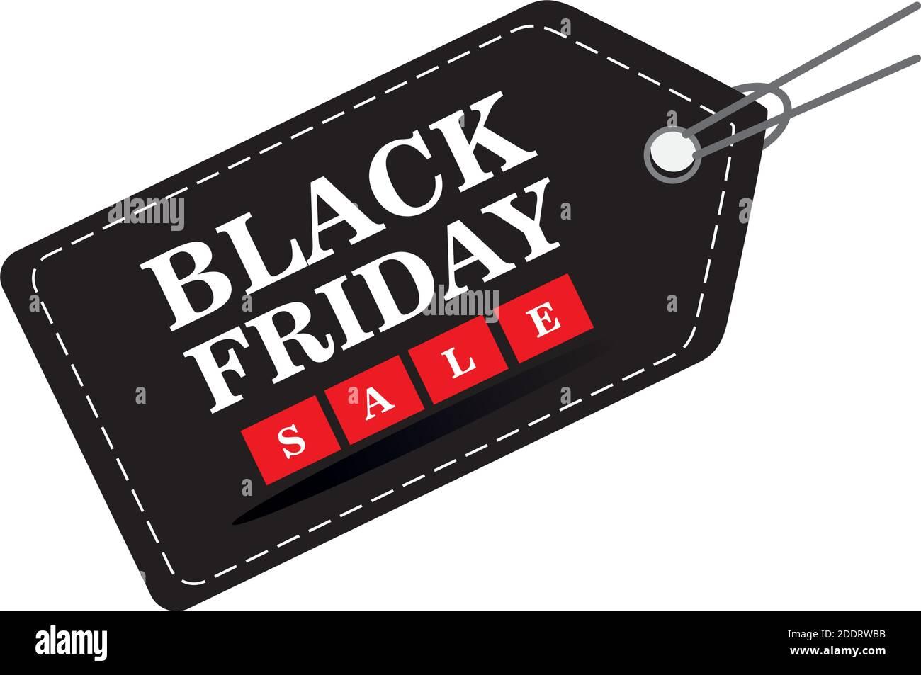 venta de viernes negro letras en etiqueta Ilustración del Vector