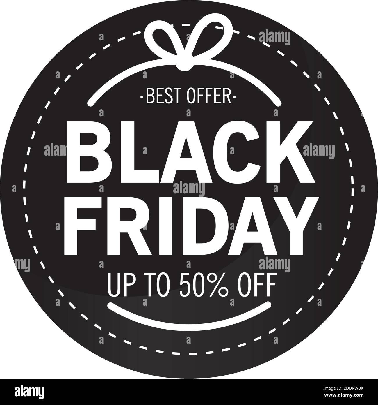 venta de viernes negro letras en sello circular Ilustración del Vector