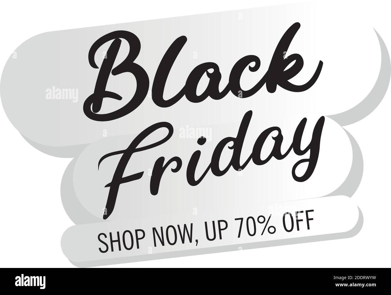 venta de viernes negro letras en etiqueta blanca Ilustración del Vector