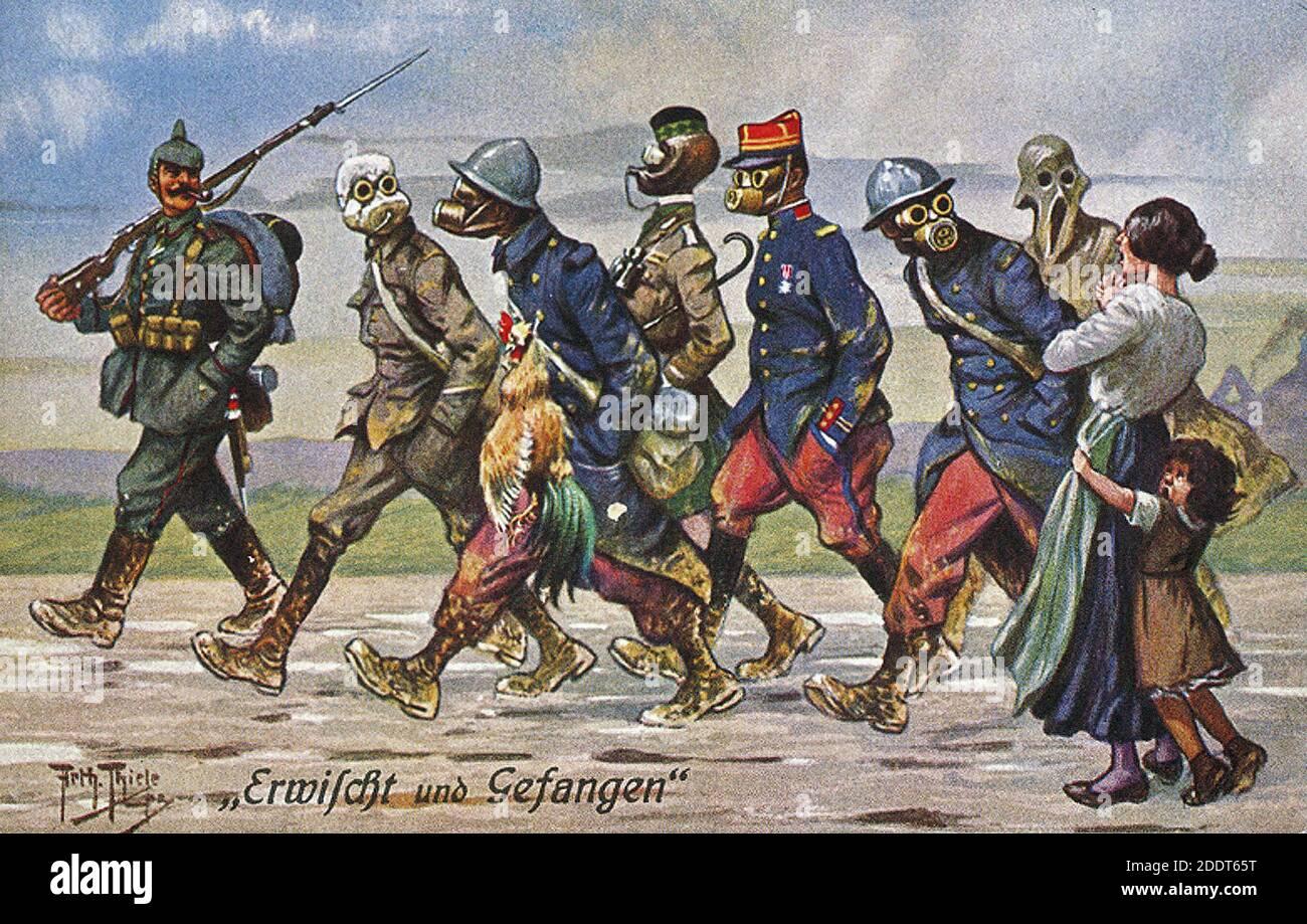 Cartel alemán de propaganda sarcástica de la época de la Gran Guerra. Atrapados y atrapados. 1914-1918 Foto de stock