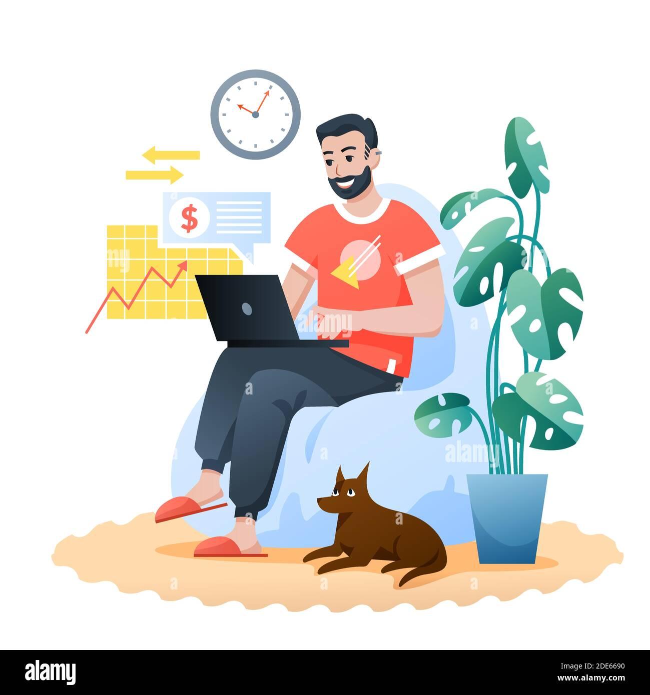 Trabajo en casa independiente plano vector ilustración, dibujos animados osos feliz hipster sentado en el sillón moderno, hombre freelancer carácter de trabajo en casa Ilustración del Vector