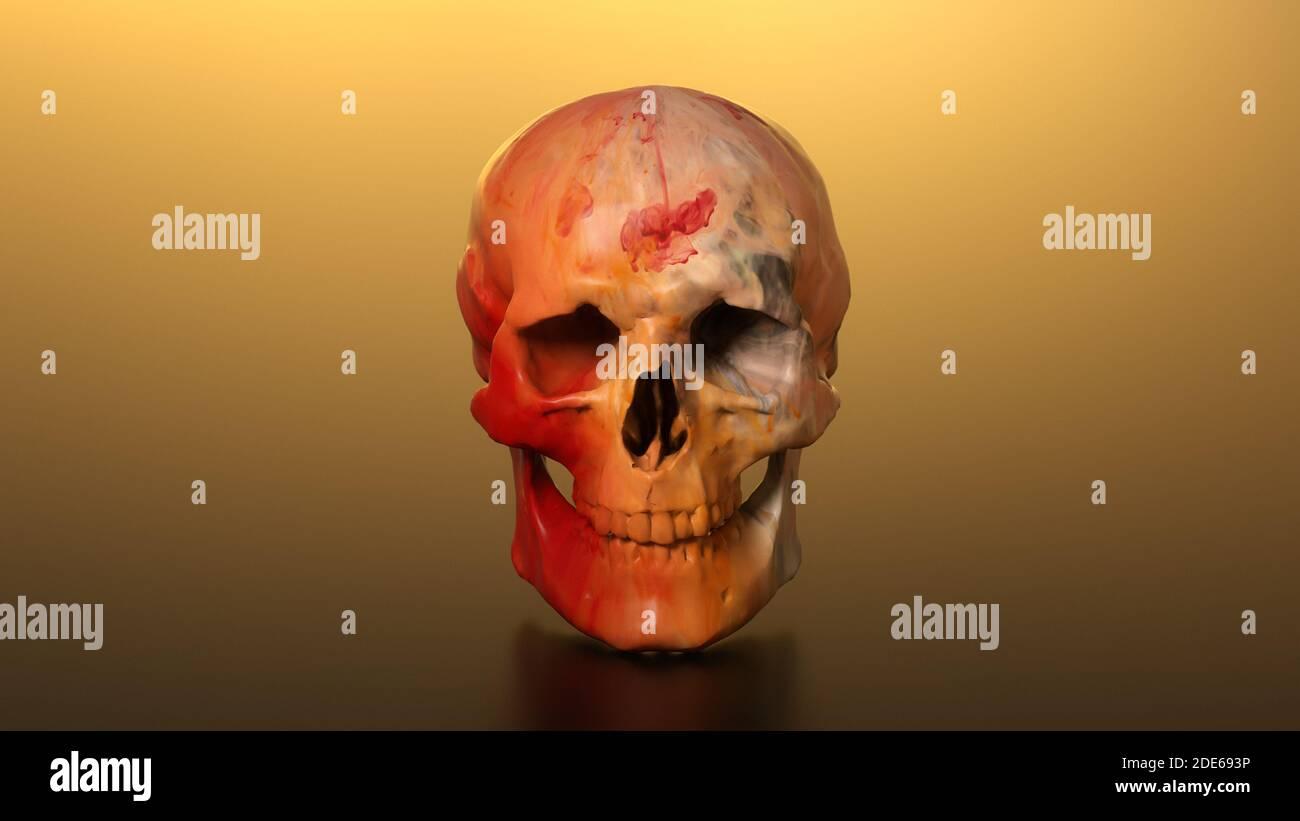 3D Render Color ilustración cráneo Foto de stock