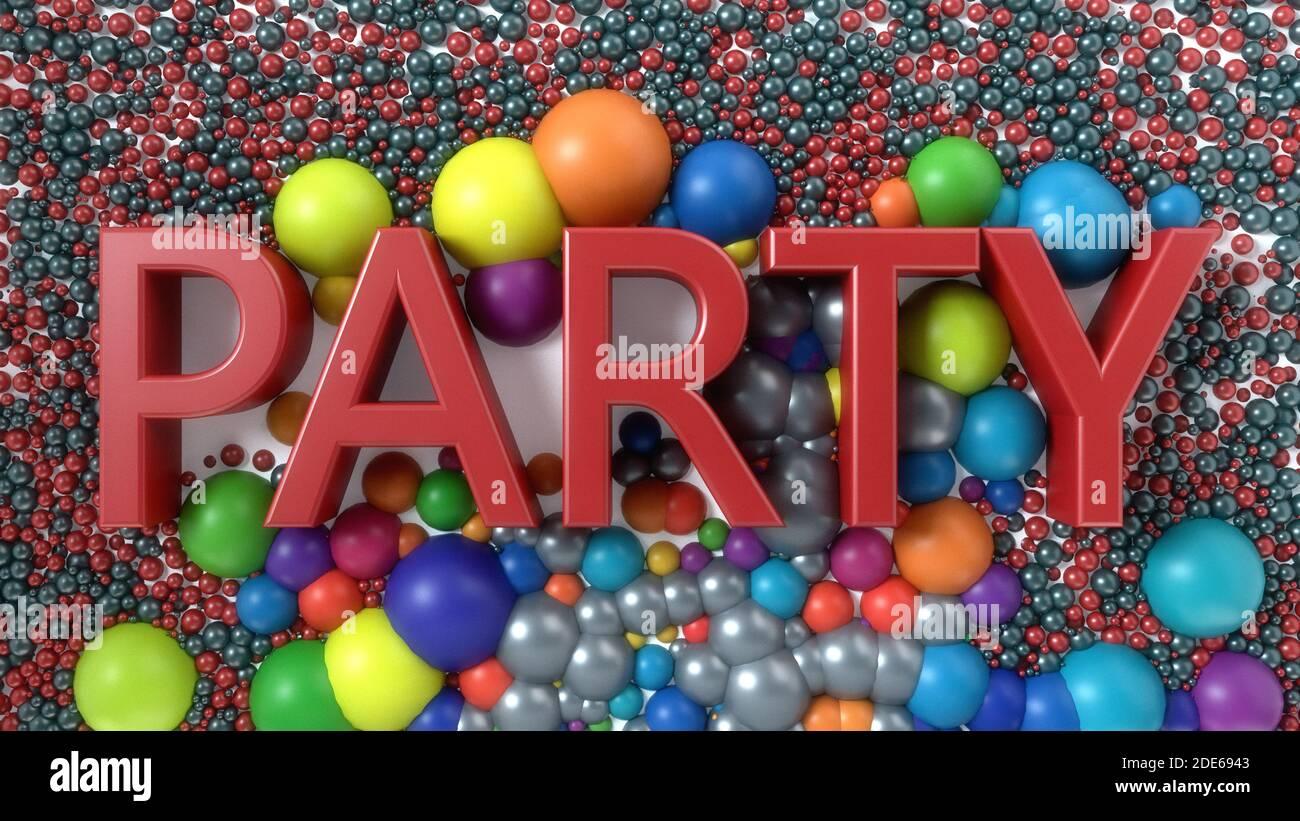 renderizar en 3d. Texto y esferas del partido Foto de stock
