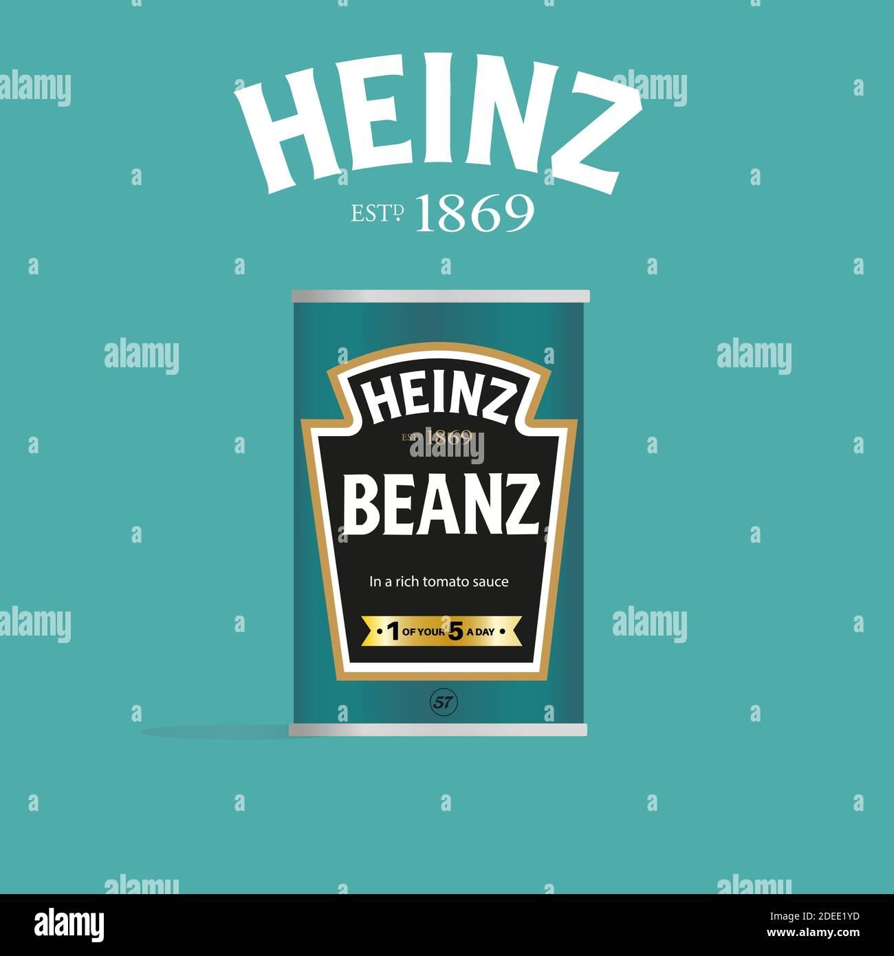 Heinz Beanz puede vector ilustración (sólo para uso editorial) sobre un fondo verde claro Ilustración del Vector
