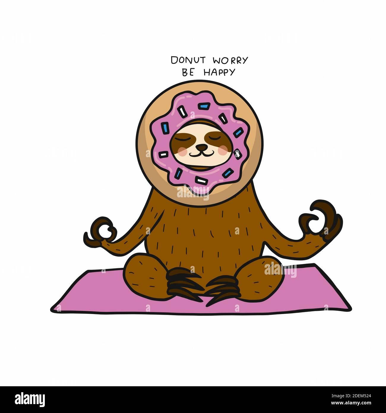 Perezoso llevar cabeza de donut, Donut preocupación ser feliz dibujo vectorial de dibujos animados Ilustración del Vector