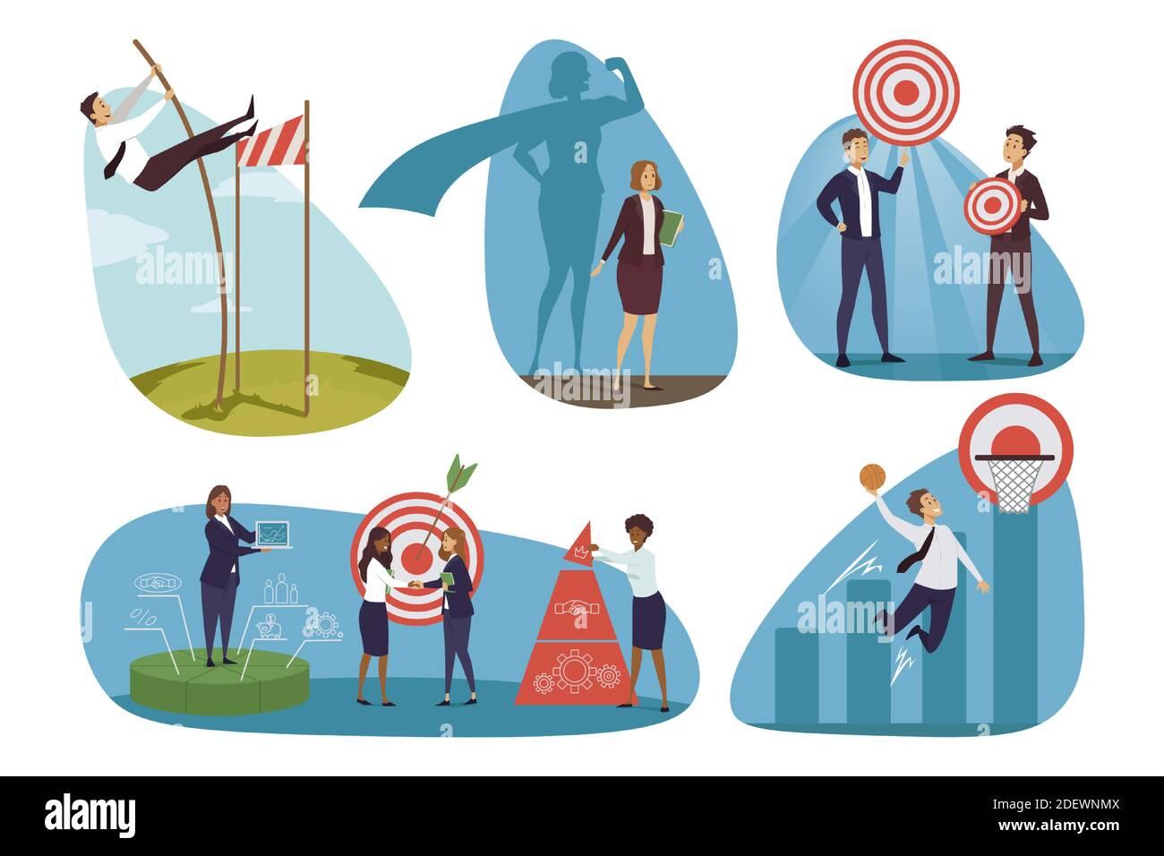 Definición de objetivos, negocios y objetivos. Hombres de negocios mujeres gerentes de oficina moviéndose a través de obstáculos para obtener beneficios financieros y cooperando juntos. Creación y análisis de equipos. Ilustración del Vector