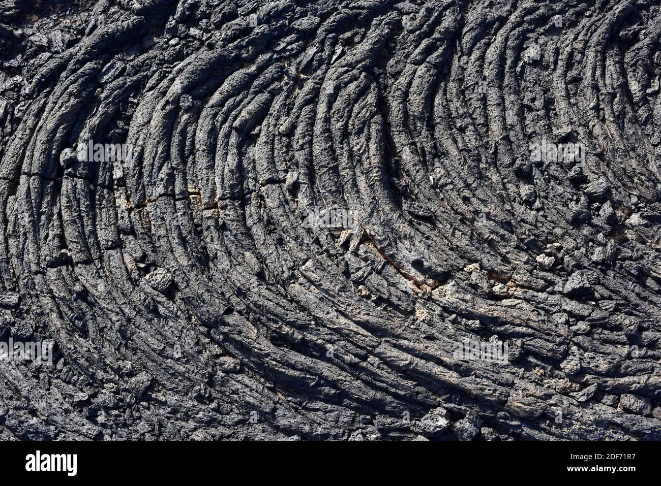 Flujo de pahoehoe o lava cerca de Tahiche, Isla de Lanzarote, Islas Canarias, España. Foto de stock