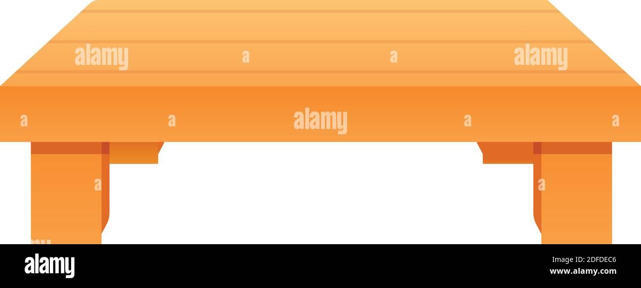 Icono de mesa de madera baja. Dibujos animados de bajo icono de vector de mesa de madera para diseño web aislado sobre fondo blanco Ilustración del Vector