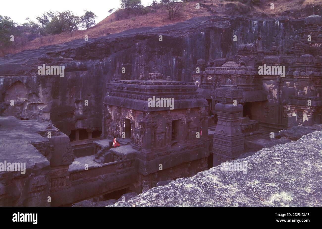 india famoso lugar ajanta ellora gufa cuevas haritage lugar Foto de stock