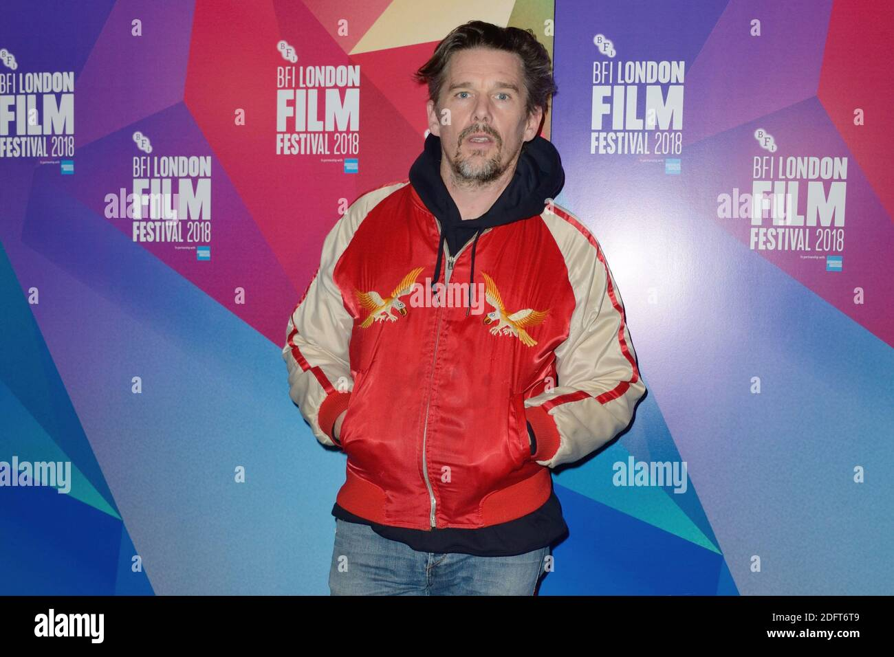 Ethan Hawke asistió al estreno de Blaze como parte del 62º BFI London Film Festival en Londres, Inglaterra el 20 de octubre de 2018. Foto de Aurore Marechal/ABACAPRESS.COM Foto de stock