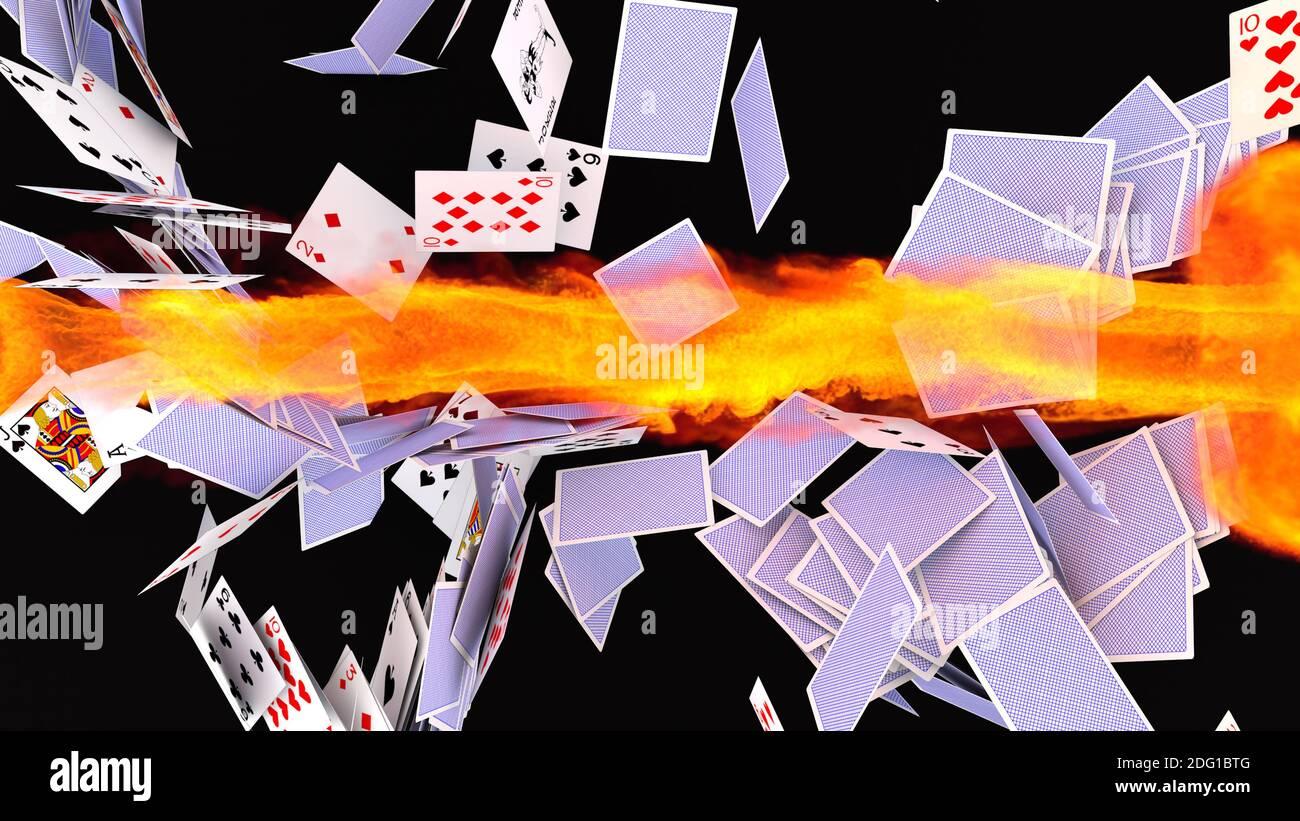 renderizar en 3d. Caída de la tarjeta de póquer Foto de stock