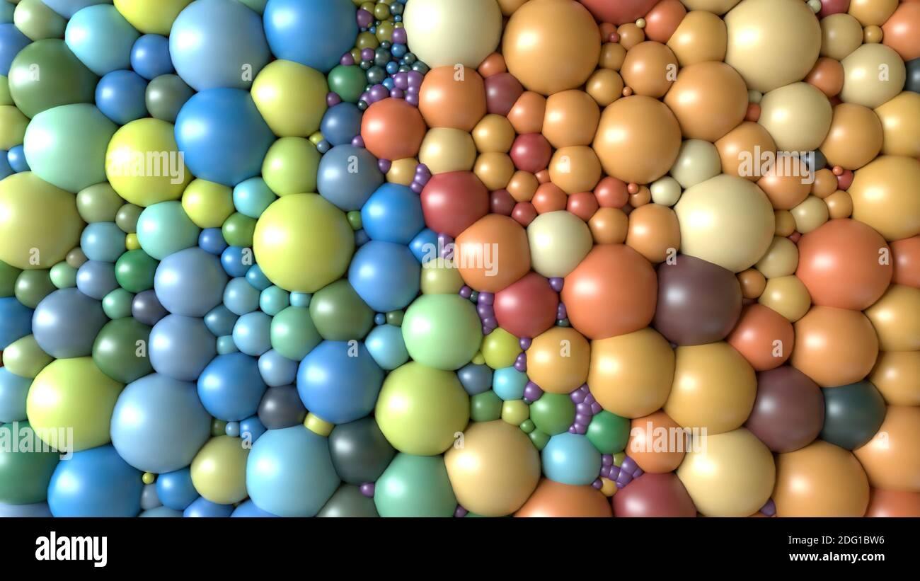 renderizar en 3d. Esferas de colores variados Foto de stock