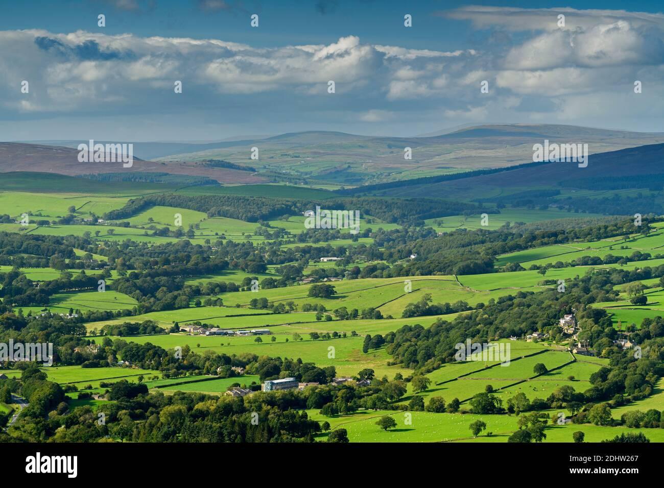 Vista escénica del campo de Wharfedale (amplio valle verde, colinas onduladas, altos fells, luz solar en tierra, cielo azul) - West Yorkshire, Inglaterra, Reino Unido. Foto de stock