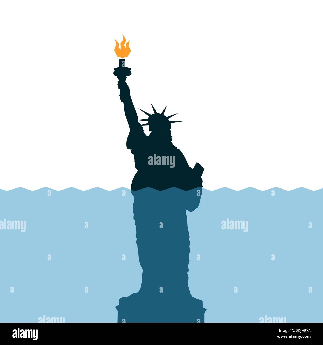 El nivel del mar se está levantando alrededor de la Estatua de la Libertad - calentamiento global y la matanza climática / metáfora del deterioro, la decadencia y el fracaso de los Estados Unidos de am Foto de stock