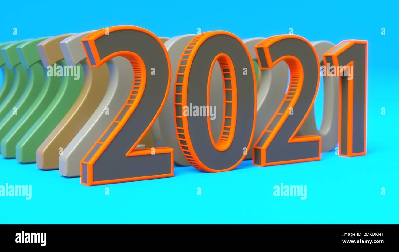 renderizar en 3d. 2021 diseño de texto 3d Foto de stock