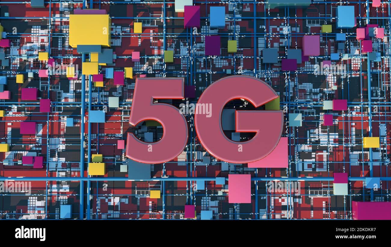 renderizar en 3d. 5 G de fondo tecnológico Foto de stock