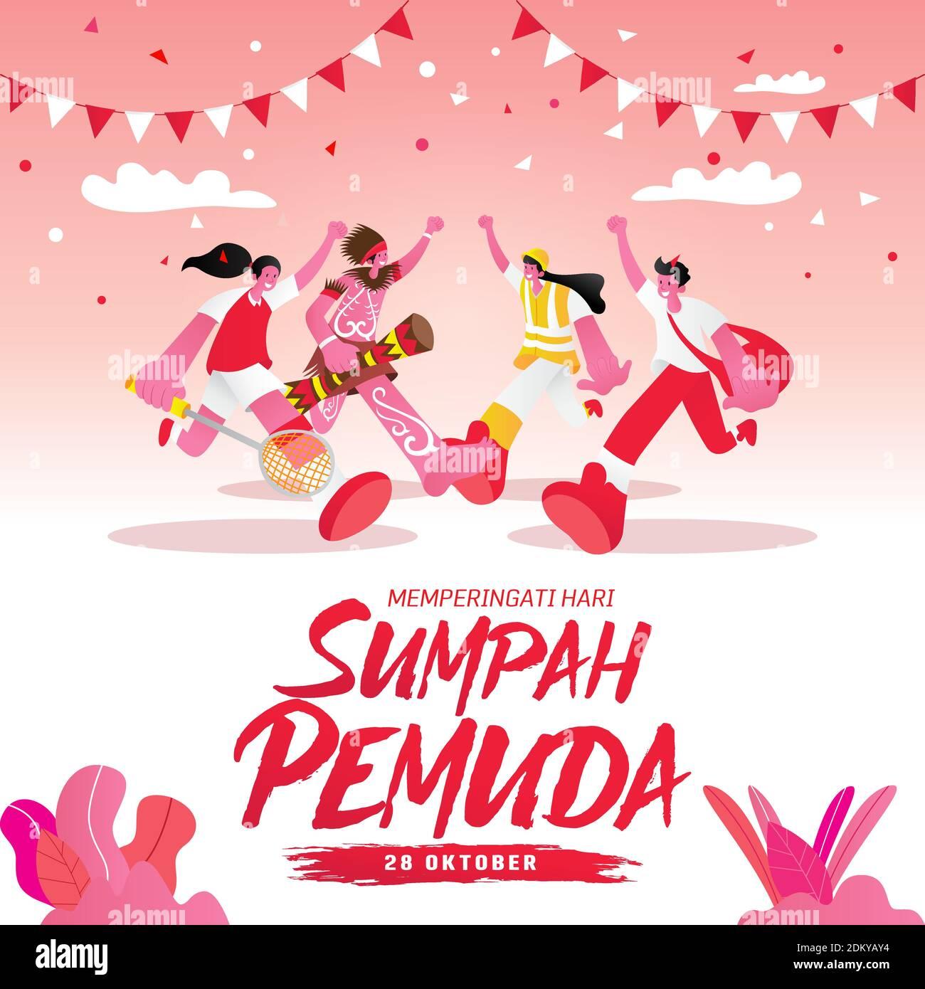 Ilustración vectorial. selamat hari Sumpah pemuda. Traducción: Feliz promesa de la juventud Indonesia. Adecuado para tarjetas de felicitación, pósteres y pancartas Ilustración del Vector