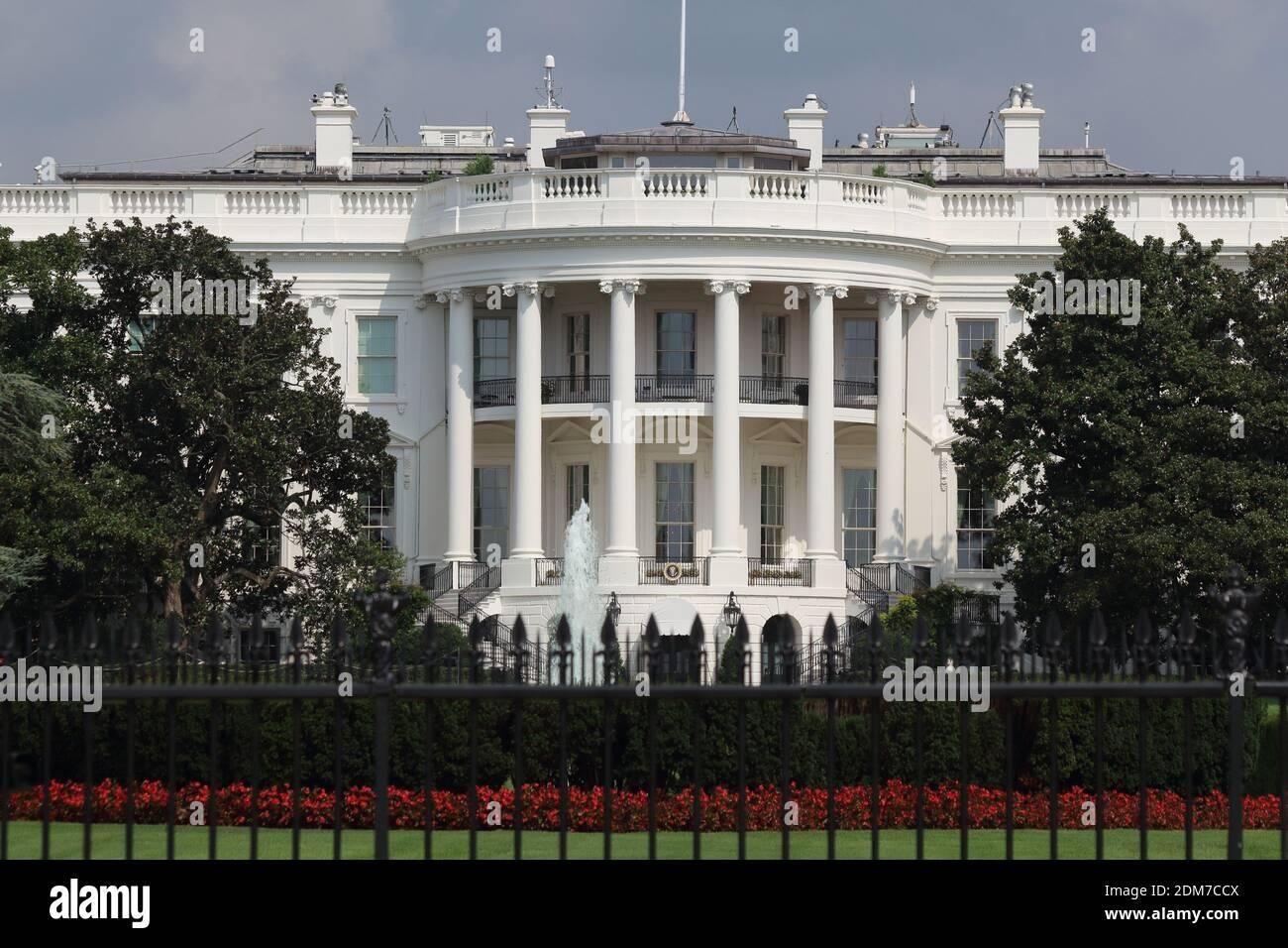 Disparo exterior del ala oeste de la Casa Blanca que contiene la Oficina Oval, Washington DC Foto de stock