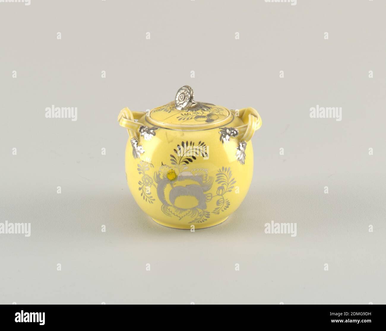 Set de té, cerámica Leeds, plata resistente, tazón de azúcar, forma esperica, tapa es también con tazón, numerado con componentes, b es tapa, Inglaterra, 18th-mid-19th siglo, cerámica, artes decorativas, juego de té Foto de stock