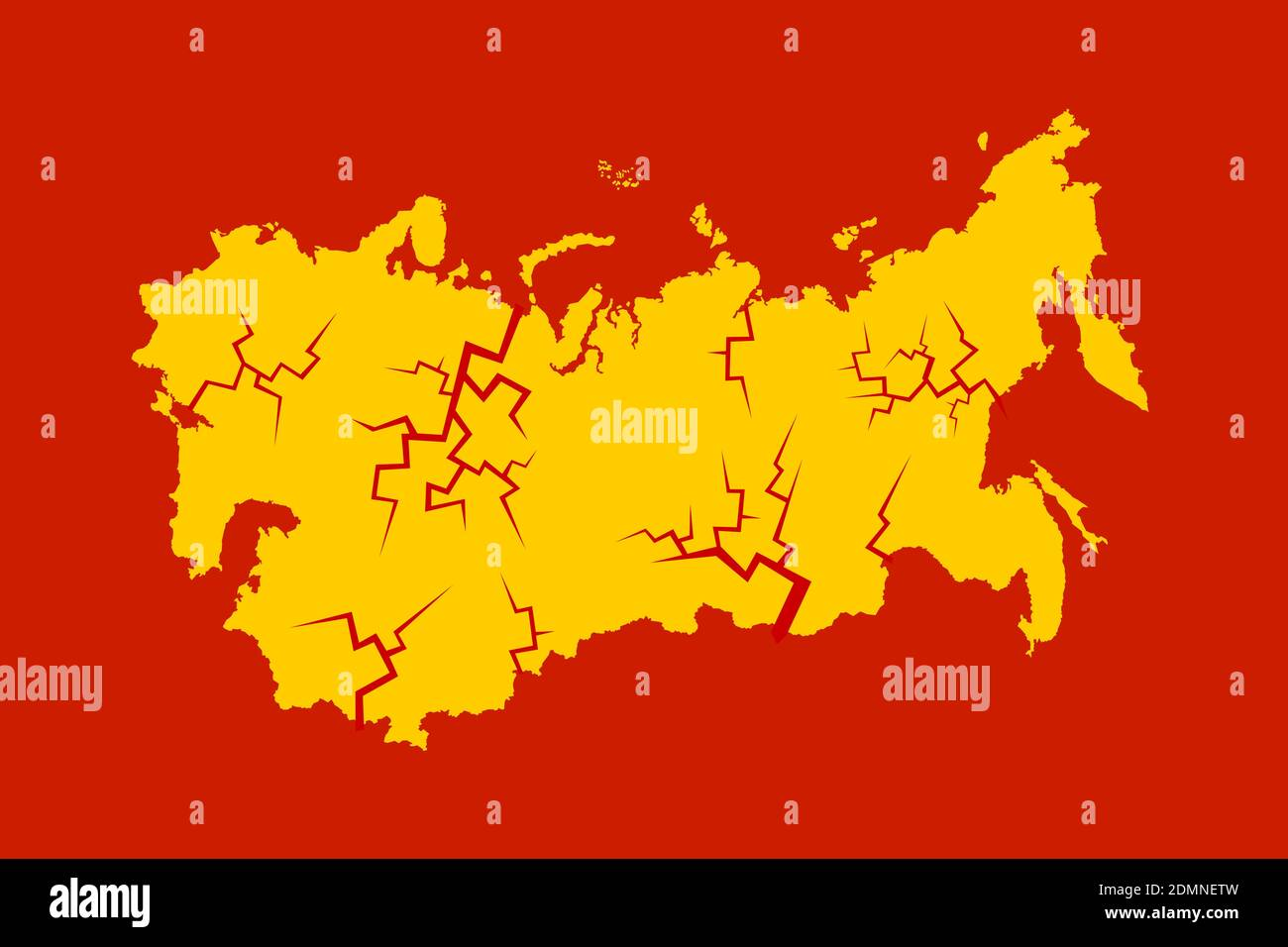 Colapso, disolución y desintegración de la unión soviética. Crack y romper en el país y estado socialista y comunista. Ilustración vectorial Foto de stock