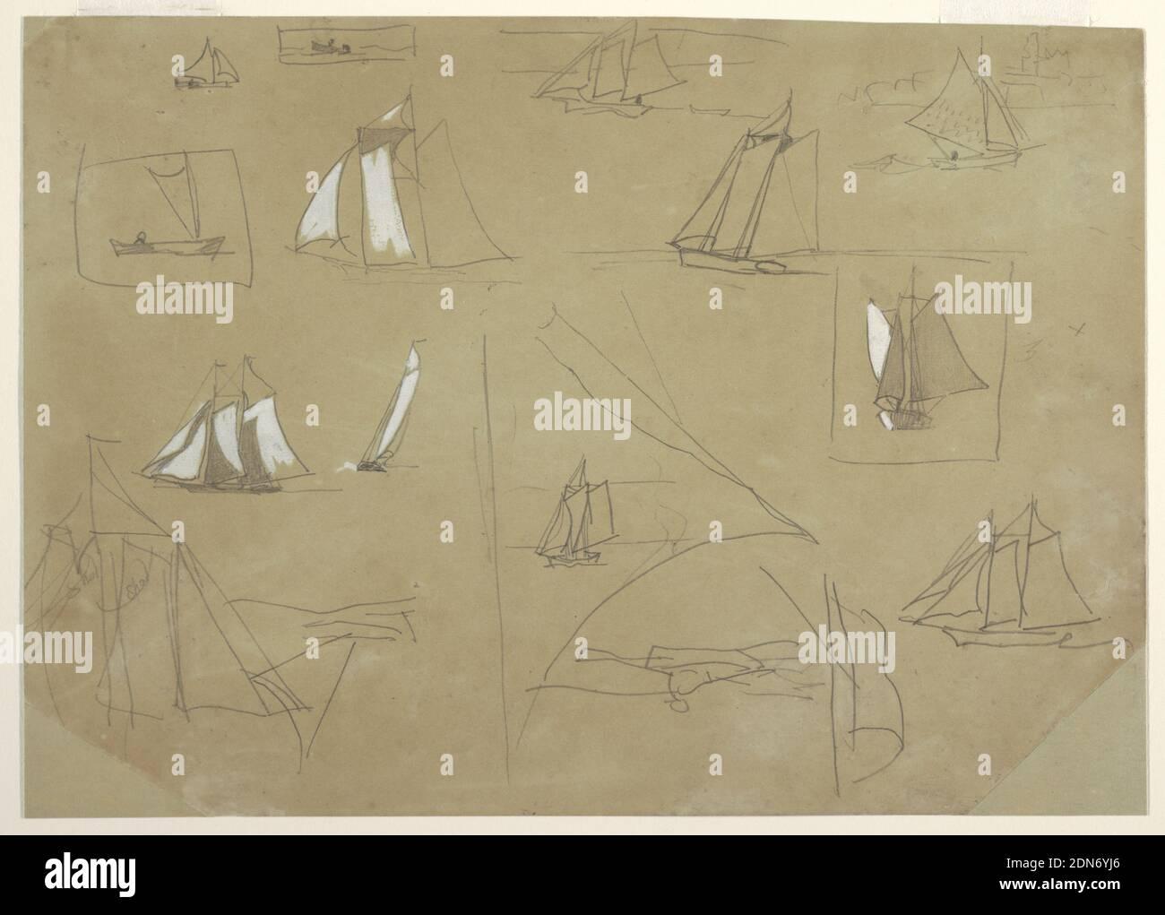 Bocetos de barcos de vela, Winslow Homer, American, 1836–1910, grafito, brocha y gouache blanco sobre papel marrón claro, boceto horizontal que muestra doce barcos de vela y, invertido en la parte inferior de la hoja, un bote de remos. Tres bocetos de velas; el que está en la parte inferior izquierda está inscrito dos veces con la palabra 'hal'. El barco dibujado en la esquina superior derecha aparece contra la ruina de Tynemouth Priory en el fondo., probablemente Cullercoats, Inglaterra, 1880, sazcapes, dibujo Foto de stock