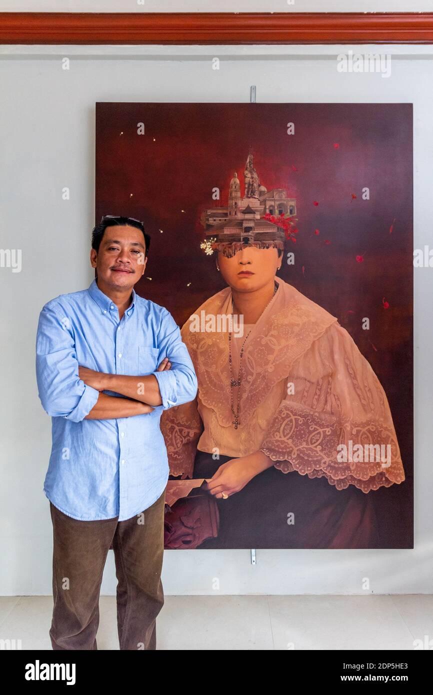 El artista gráfico y pintor Felix Mago Miguel en Bohol, Filipinas Foto de stock