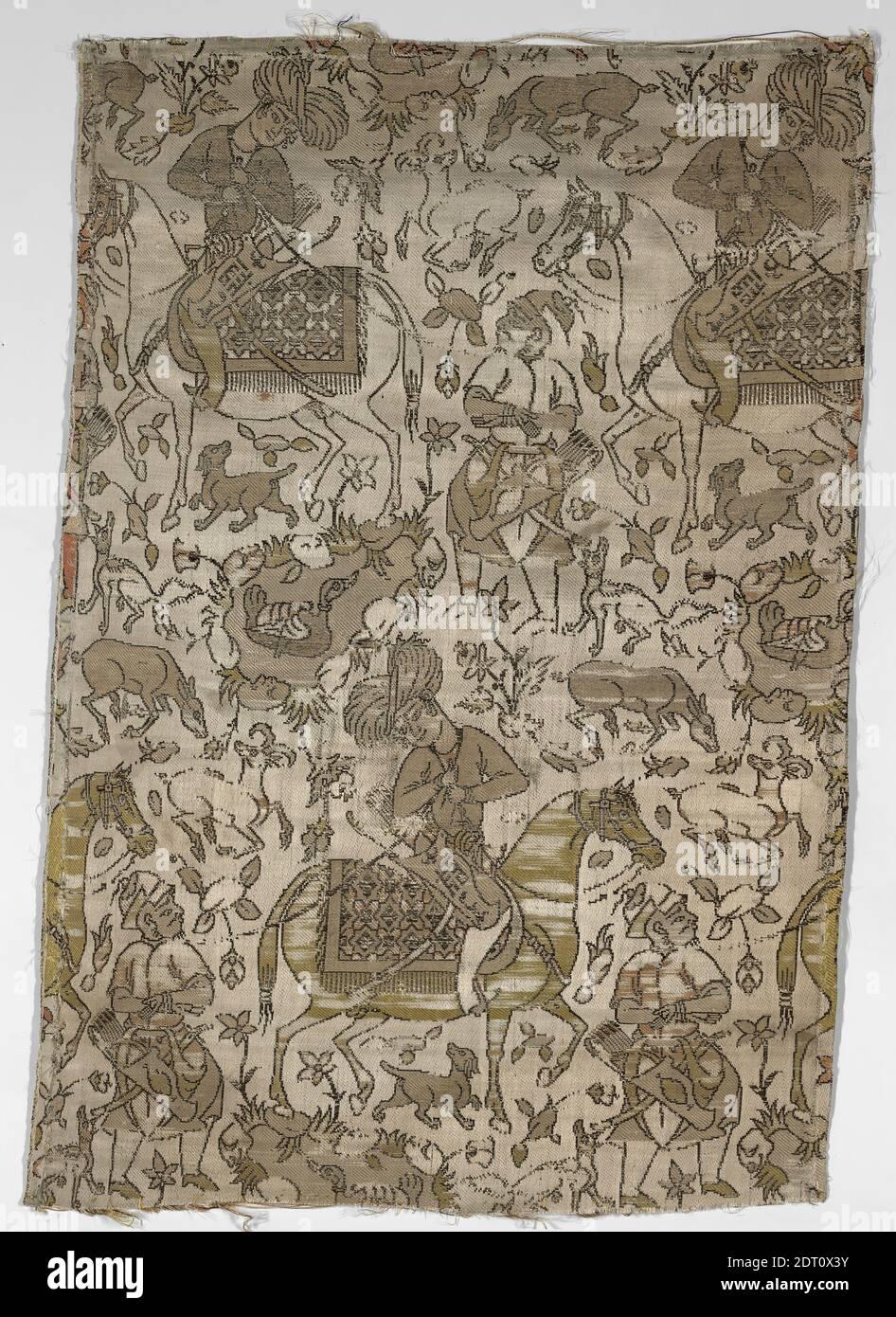 Artista: Abdallah, activo siglo 17, fragmento textil con un Courtier y Prisoner, principios del siglo 17, Seda; tejido compuesto, 13 11/16 × 20 1/16 pulg. (34.7 × 51 cm), este fragmento de seda representa a un cortesano vestido a caballo acompañado por un prisionero a pie, un motivo que se hizo popular tanto en pinturas como en textiles en el Irán del siglo XVI. Varios animales y exuberante vegetación rodean a la pareja. La firma del artista está visiblemente colocada en el alquivo del jinete idealizado; dice, obra de 'Abd Allah., iraní/Persa, Islámica, dinastía Safavid (1501–1722), Textiles Foto de stock