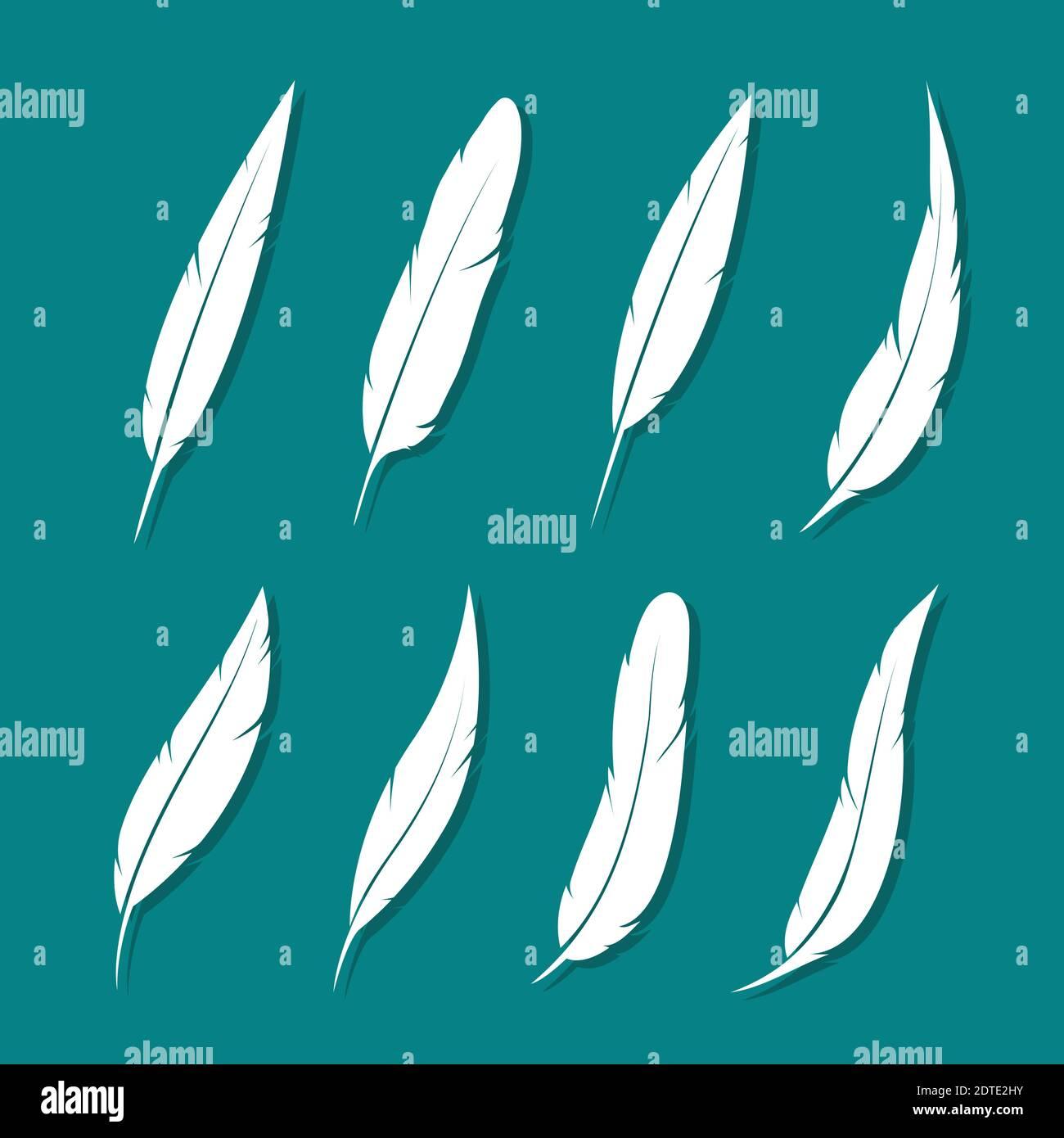 Grupo vectorial de pluma blanca sobre fondo azul. Ilustración de vector en capas fácil de editar. Animales salvajes. Ilustración del Vector