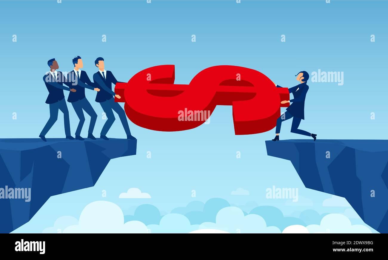 Vector de un grupo de empresarios que compiten con una empresaria por dinero Ilustración del Vector