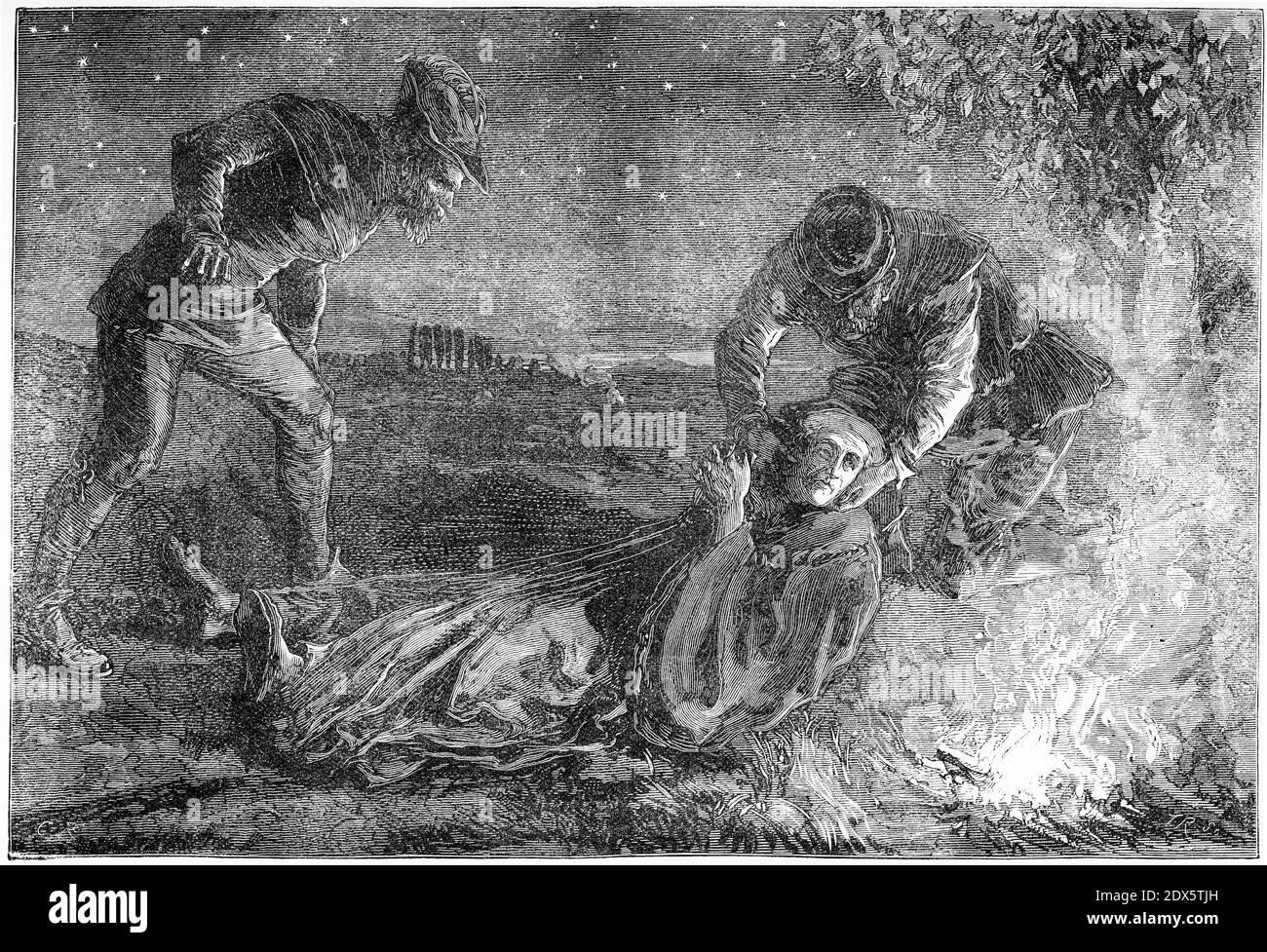 Grabado de Ulrich Zwingli a su muerte en 1531 cerca de Kappel después de una batalla con los cinco Estados. Ilustración de 'la historia del protestantismo' por James Aitken Wylie (1808-1890), pub. 1878 Foto de stock