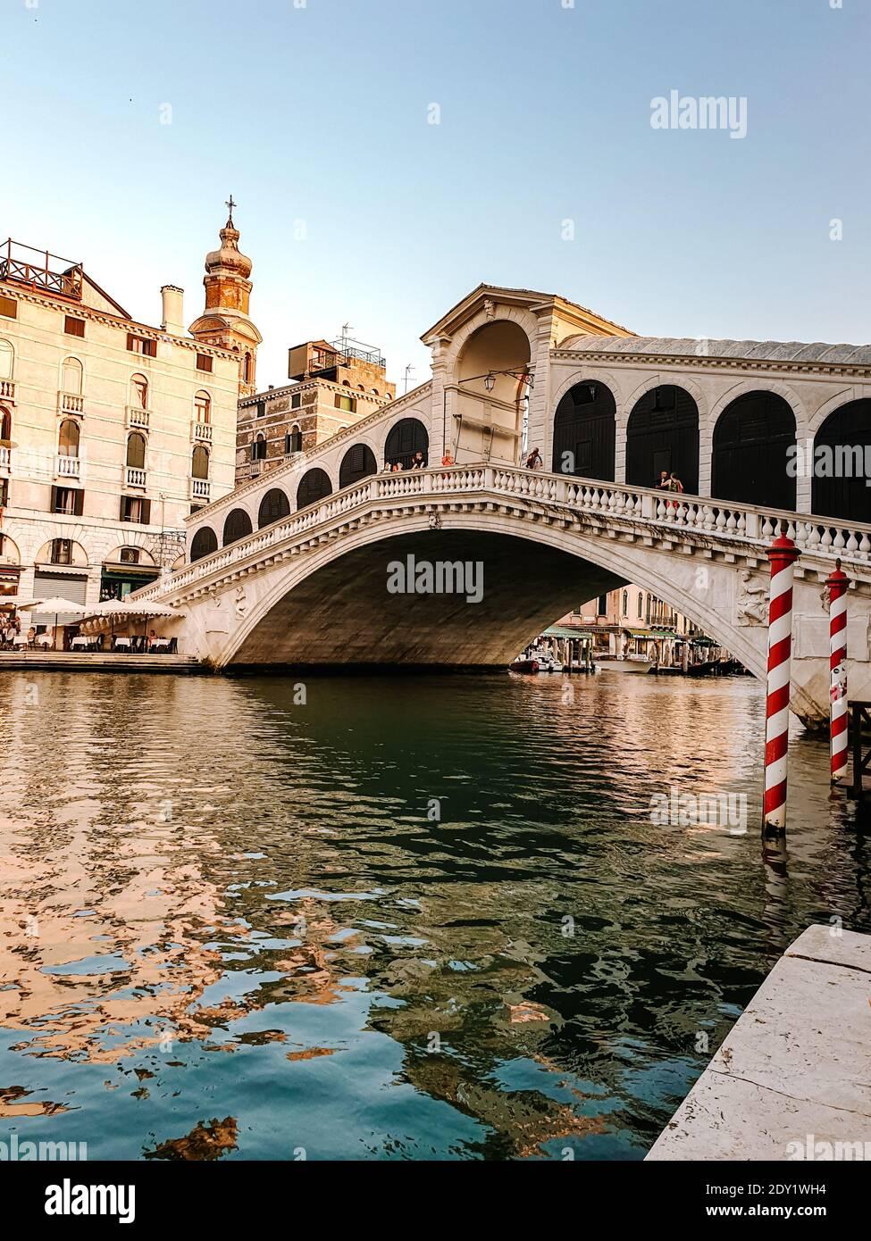 Italia Venecia, ciudad casi vacía de Venecia durante el verano de 2020 con el auge de la pandemia de covid 19 en Italia. Europa Venzia Foto de stock