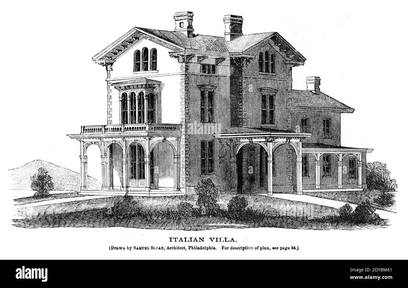 Villa Italiana del Libro y Revista de la Señora de Godey, enero de 1864, Filadelfia, Louis A. Godey, Sarah Josepha Hale, Foto de stock