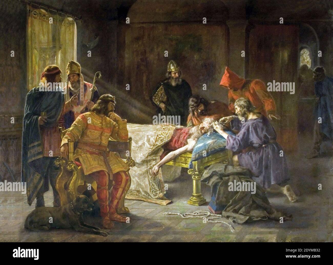 La tonsura del rei Wamba - Joan Brull i Vinyoles (1863-1912). Foto de stock